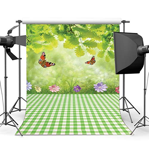 SZZWY 3X5FT Spring Backdrop Happy Easter Butterfly Fresh Flowers Green Leaves Grass Meadow Bokeh Sequins Nature Frohe Ostern Vinyl Photography Background for Kids Baby Photo Studio Props YX21