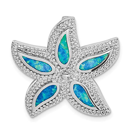 - 925 Sterling Silver Created Blue Opal Starfish Slide Necklace Pendant Charm Sea Life Fine Jewelry Gifts For Women For Her