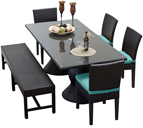 TK Classics NAPA-RECTANGLE-KIT-4C1B-C-ARUBA Napa Rectangular Outdoor Patio Dining Table with 4 Chairs and 1 Bench, Aruba (Furniture Patio Napa)