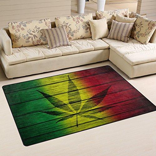 WOZO Wood Flag Marijuana Leaf Area Rug Rugs Non-Slip Floor Mat Doormats Living Room Bedroom 60 x 39 inches
