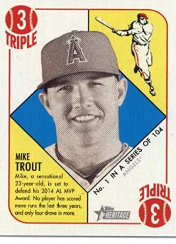 2015 Topps Heritage '51 Collection Blue Back #1 Mike Trout Angels Baseball Card ()