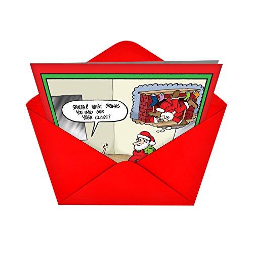 Auguri Di Natale Yoga.Babbo Natale Yoga Joke Carta Confezione Da 12 Amazon It
