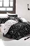 DecoMood Music Bedding Set, Melody Note Motifs Composition Design, Full/Queen Size Duvet Cover Set with Fitted Sheets, Black and White, Reversible (7 Pcs),