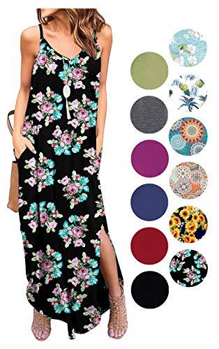 (LIYOHON Women's Summer Casual Loose Dress Beach Cover Up Plain Print Long Cami Maxi Dresses with Pocket Fp Rose-XL)