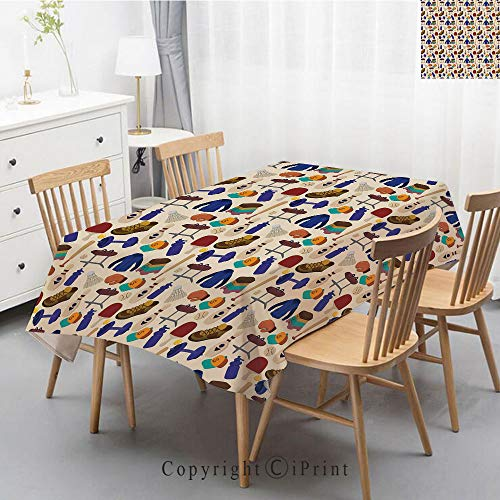 Printed Pattern Washable Table cloth Dinner Kitchen Home Decor Vintage Flower Decorative Square Linen Tablecloth,47x63 Inch,Sport,Competitive Activities Goods Pattern Weights Coats Bowling Pins Ping -