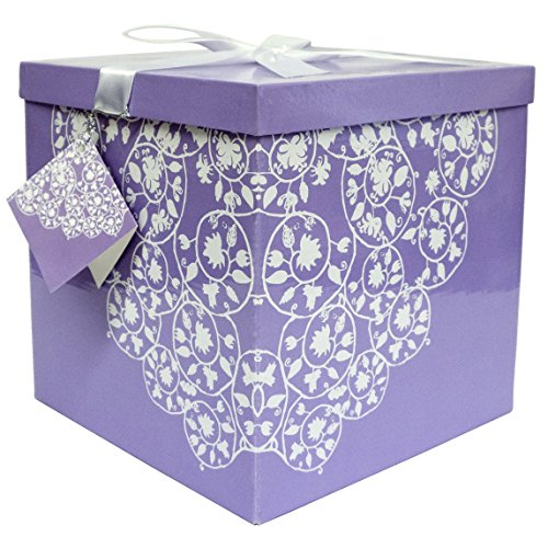 "Gift Box, 10""x10""x10"" Easy to Assemble, No Glue Required wit"