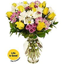 Benchmark Bouquets Life is Good Flowers Yellow, With Vase