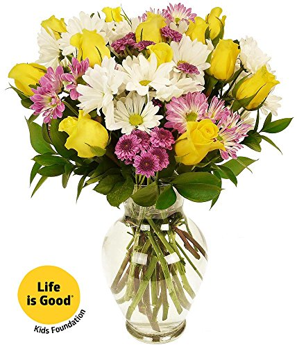 Benchmark Bouquets Life Is Good Flowers Yellow  With Vase