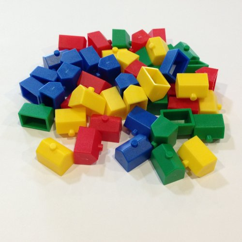 Plastic Hotels: Red, Yellow, Green, and Blue Color Monopoly Replacement Hotel (Colored Miniature Town & City Buildings, Board Game Playing Pieces) by Morrison (Monopoly Playing Piece)