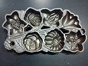 John Wright Cast Iron Baking Flowers Muffin Pan