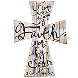 2 Corinthians 5:7 For We Walk by Faith not by Sight Beautiful Wood Cross Home Wall or Tabletop Decor 11.5'' x 8''