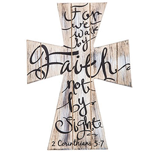 2 Corinthians 5:7 For We Walk by Faith not by Sight Beautiful Wood Cross Home Wall or Tabletop Decor 11.5