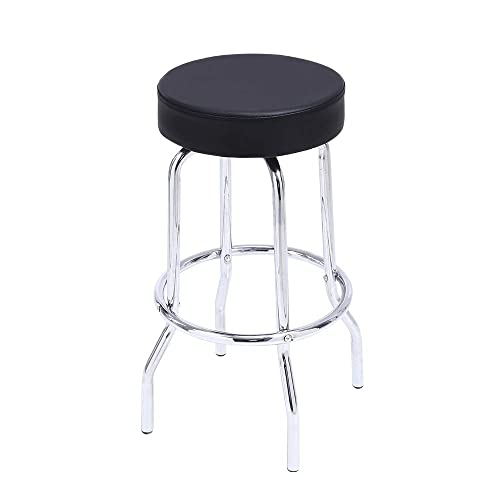 KKTONER Swivel Round Bar Stool PU Leather Shop Stool with Footrest Work SPA Medical Salon Counter Stools Task Chair Black