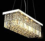 7PM W40' x D10' Modern Rain Drop Rectangle Clear K9 Crystal Chandelier Pendant Lamp Lighting Fixture 8 Lights for Dining Living Bedroom Room (Chrome Frame)