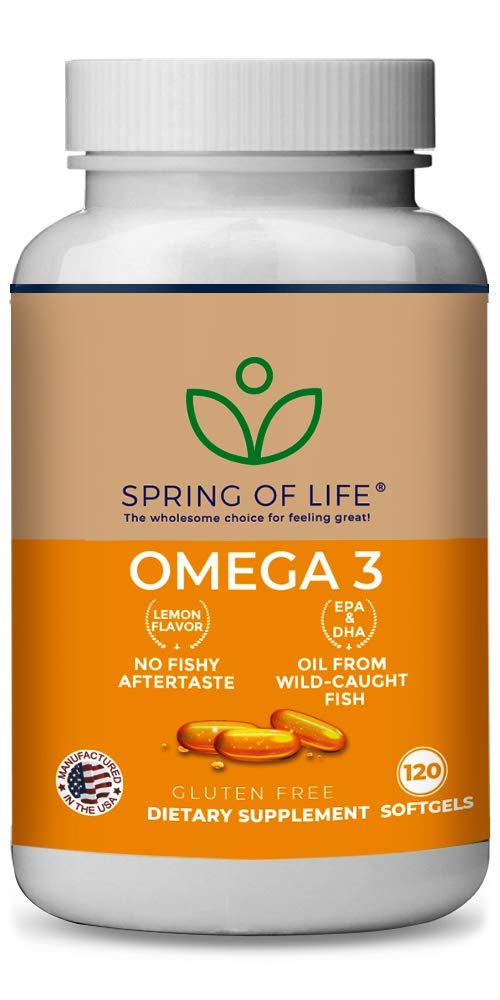 Spring of Life Premium Omega 3 Softgels with EPA & DHA, No Fish burps! 120 Soft Gel Capsules with Natural Lemon Flavor by Spring of Life