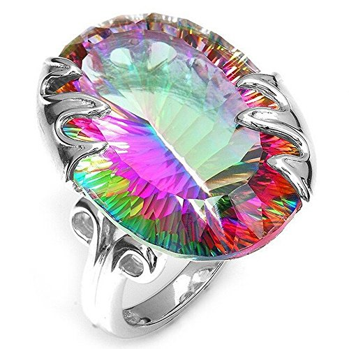 SMALLE  Jewelry Rings for Women, Woman Elegant Seven Color Mystic Rainbow Big Round Gem Jewelry Ring