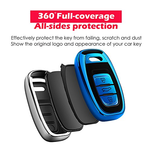 Uxinuo for Audi Key Fob Cover Case Premium Soft TPU 360° Full Protection Key Shell Case Cover Compatible with Audi A4L A6L Q5 A5 A7 A8 S5 S7 Keyless Entry_(Blue)