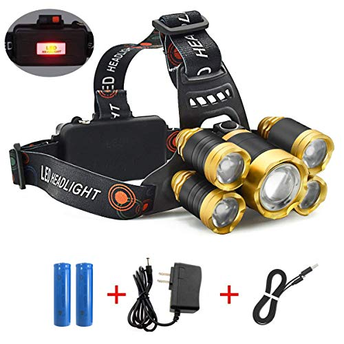 HG Headlamp,12000 Lumen 5 LED Work Headlight 4 Modes Rechargeable Waterproof Flashlight Lighting Range up to 500M, Headlights for Running Camping Fishing Outdoor Work (Includes Two 4200mA Batteries)
