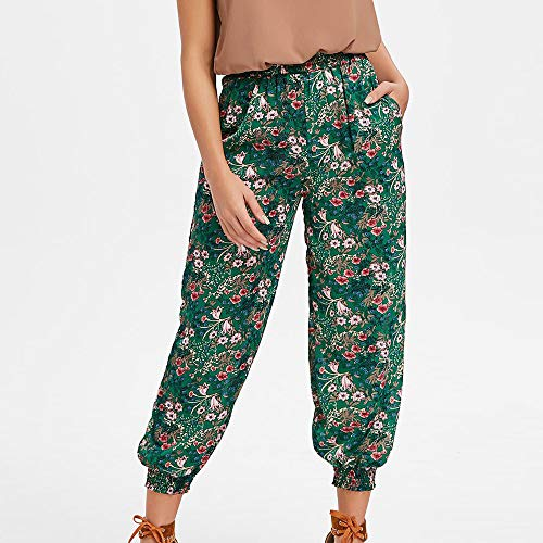 SANFASHION Lache Imprim Pantalons de Sport Vert Femme Pants Harem Ample Casual PPxArwqS