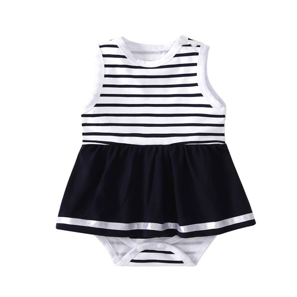 NUWFOR Infant Baby Kids Sleeveless Striped Bodysuit Romper Dress Clothing Outfit(Black,0-6 Months)