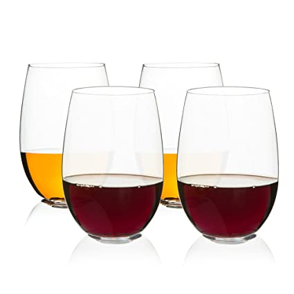 5297bf5b6b5 Image Unavailable. Image not available for. Color  MICHLEY Unbreakable  Stemless Wine Glasses 16 oz