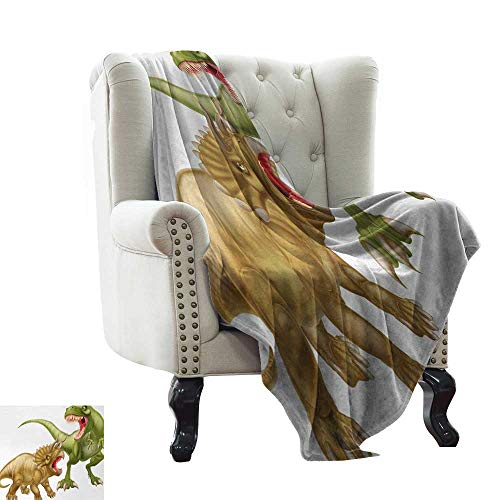 (BelleAckerman Mother Blanket Dinosaur,T Rex Versus Triceratops Fighting Scaring Each Other Wild Reptiles,Green Pink Pale Brown Super Soft and Warm,Durable Throw Blanket 50