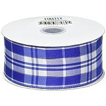 """Homeford FHV000033543 10 yd Plaid Checkered Wired Christmas Ribbon, 1.5"""", Royal Blue"""