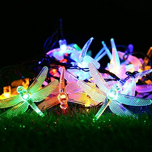 AMZSTAR Solar Powered String Lights,Waterproof 19.7ft 30LED Dragonfly Fairy Lights Decorative Lighting for Indoor/Outdoor Home Garden Lawn Fence Patio Party and Holiday Decorations (Multi-color) by AMZSTAR (Image #5)