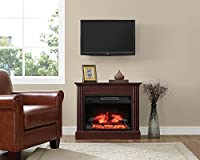 Whalen Furniture FP32EC23I-1BC Fully Assembled Chesapeake Mantel Electric Fireplace, Brown Cherry, 32""