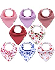 KiddyCare Baby Bandana Bibs for Girls 8 Pack - Organic Cotton for Drooling and Teething - Super Absorbent Drool Bibs for Baby Girl - Baby Shower Set