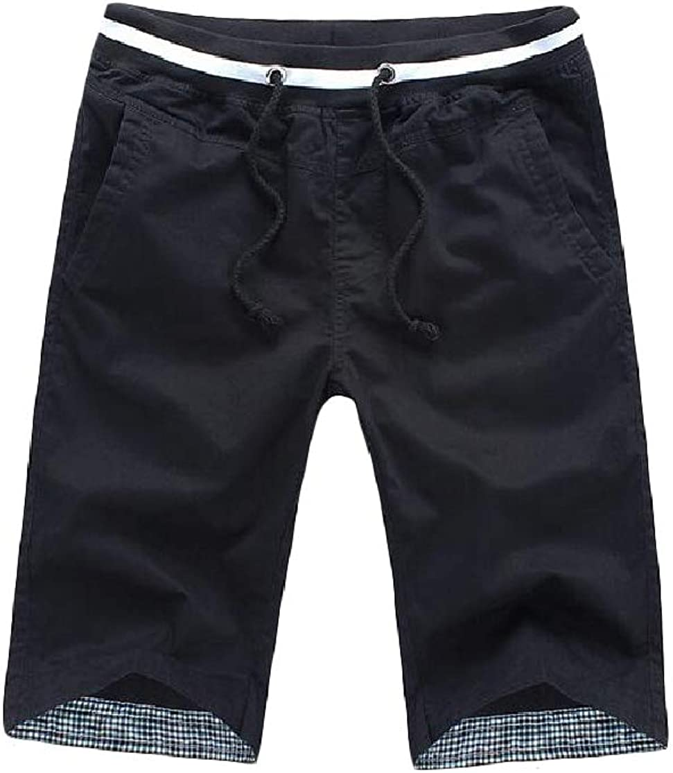 Cromoncent Mens Beach Slim Cotton Elastic Waist Cargo Shorts