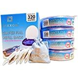 Dixxon Diaper Pail Refill Bags – Fits Most Diaper Pails and Diaper Genies – Includes 5-Pack of Charcoal Deodorizers – Each Bag Holds up to 320 Diapers (1,280 Count) – 4 Pack