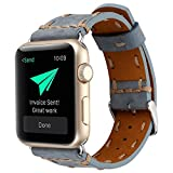 Kobwa 38MM/42MM Watch Band for Apple Watch, West Cowboy Style Watchband Vintage Cowhide Strap Luxury Genuine Leather Single Tour Replacement for IWatch Series 1 Series 2 Series 3