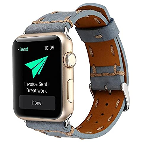 Kobwa 38MM/42MM Watch Band for Apple Watch, West Cowboy Style Watchband Vintage Cowhide Strap Luxury Genuine Leather Single Tour Replacement for IWatch Series 1 Series 2 Series - Vintage Leather Accessories