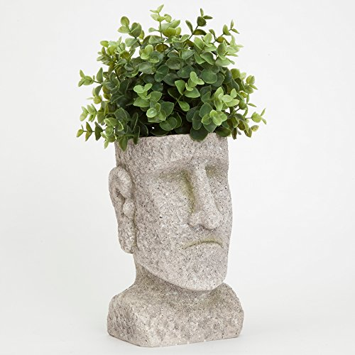 Bits and Pieces - Indoor/Outdoor Easter Island Statue Planter - Urn for Plants - Durable Polyresin Sculpture (Face Planter)