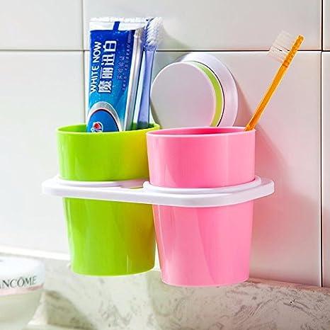 CNBBGJ Enjuague bucal creativo, cepillo de copa de succión, rack para colgar en la pared del tambor porta cepillo de dientes de pareja,B: Amazon.es: Hogar