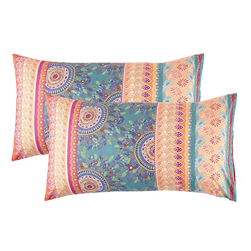 Printed Coral - Wake In Cloud - Pack of 2 Pillow Cases, Orange Coral Bohemian Boho Chic Printed Soft Microfiber Pillowcases (King Size, 20x36 Inches)