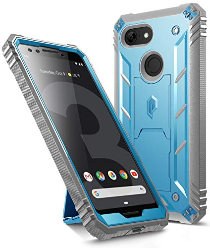 Google Pixel 3 Kickstand Rugged Case, Poetic Revolution [360 Degree Protection] Full-Body Rugged Heavy Duty Case with [Built-in-Screen Protector] for Google Pixel 3 Blue