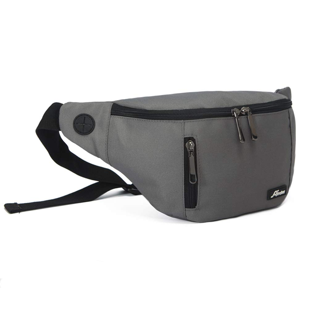 DYJ Fanny Pack with 3-Zipper Pockets, Adjustable Belt Waist Pack Bag with Headphone Jack and 3-Zipper Pockets for Outdoors Workout Traveling Casual Running Hiking Cycling (Gray) ... by DYJ