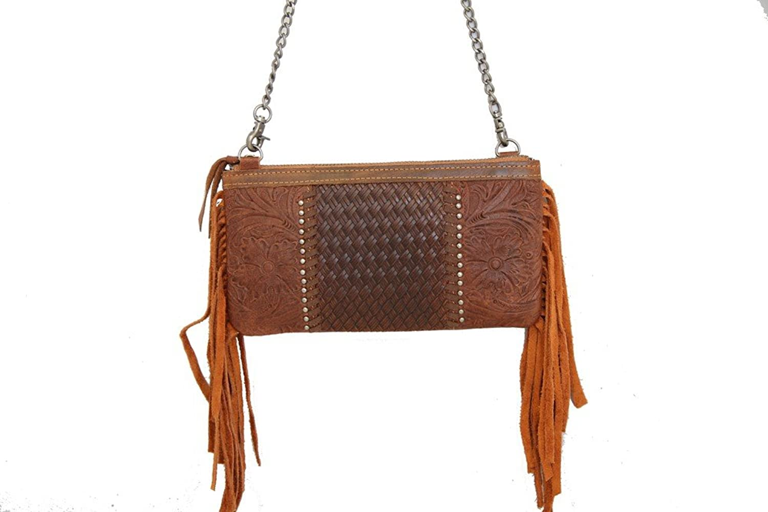 Montana West Ladies Tooled Genuine Leather Clutch with Fringe Brown