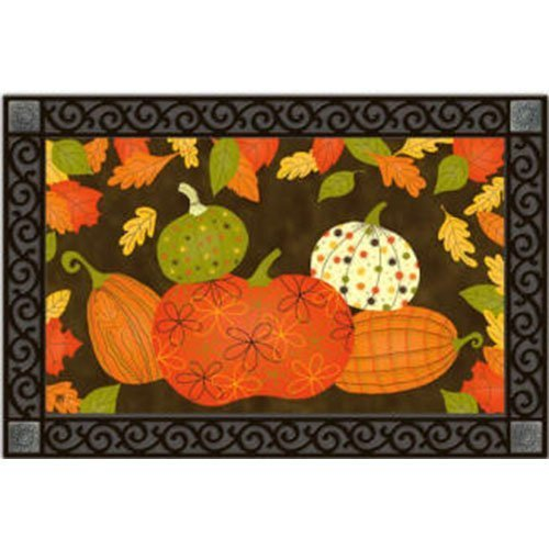 Patterned Pumpkin - Patterned Pumpkins Floor Mat Indoor or Outdoor