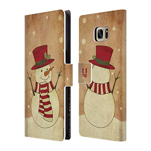 Head Case Designs Mr. Snowman Christmas Classics Leather Book Wallet Case Cover for Samsung Galaxy S7 Edge