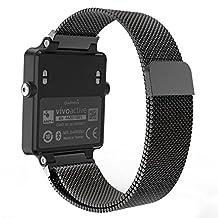 "Garmin Vivoactive Acetate Watch Band, MoKo Milanese Loop Stainless Steel Mesh Replacement Strap for Garmin Vivoactive Acetate Sports GPS Smart Watch, Fit 5.7""-8.85"", Black"