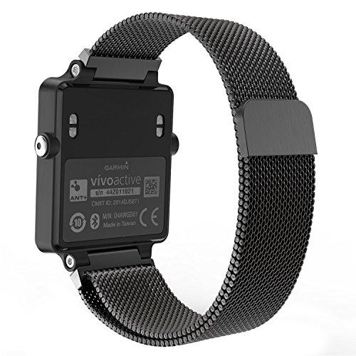 Garmin Vivoactive Acetate Watch Band, MoKo Milanese Loop Stainless Steel Mesh Replacement Strap for Garmin Vivoactive Acetate Sports GPS Smart Watch, Fit 5.7-8.85, Black