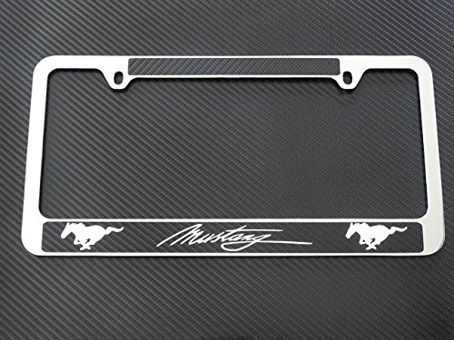 Ford mustang license plate frame chrome metal, carbon fiber details
