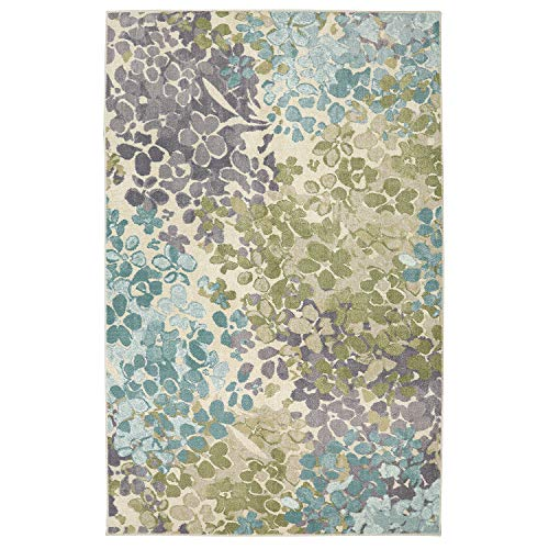 Mohawk Home Aurora Radiance Abstract Floral Printed Area Rug, 5'x8',  Aqua Multicolor (5x8 Rugs Area Tropical)