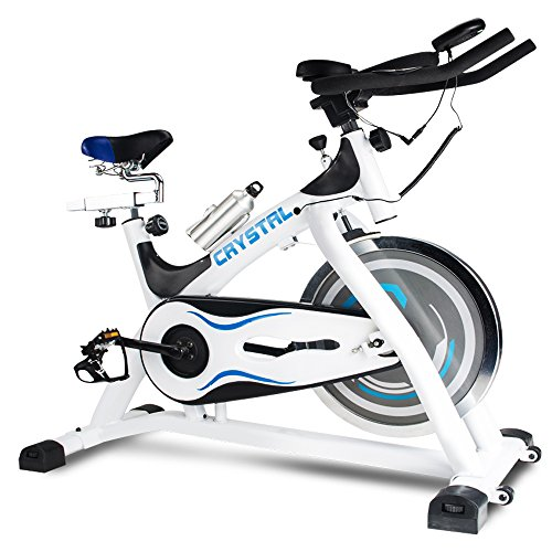 XPH Indoor Cycling Bike Cycle Trainer Exercise Bike with Computer Monitor and Heart Pulse Sensors Spinning Bike Fitness Bicycle Stationary with 29 Lb Flywheel (White&Blue) XPH