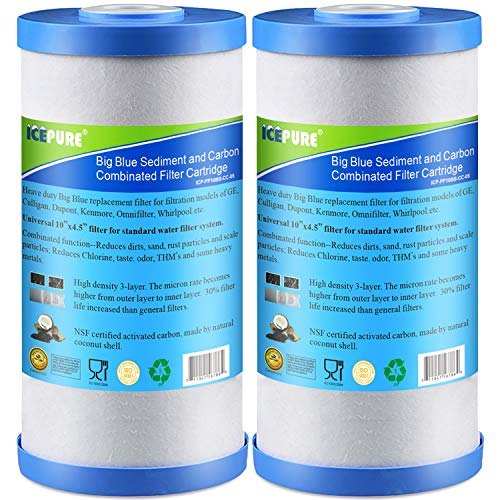 "Icepure 5 Micron 10"" x 4.5"" Whole House Big Blue Sediment and Activated Carbon Water Filter Replacement Cartridge Compatible with GE FXHTC, GXWH40L, GXWH35F, GNWH38S, 2-Pack"