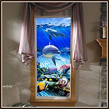 Amazoncom Dolphin Reef Stained Glass Static Cling Window Film - Stained glass window stickers amazon
