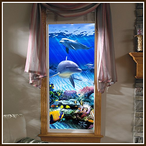 Dolphin Reef Stained Glass Static Cling Window Film (30